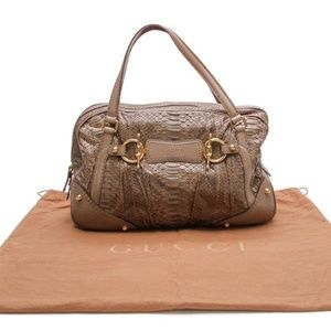Gucci Boston Jockey Python Brown Shoulder Bag